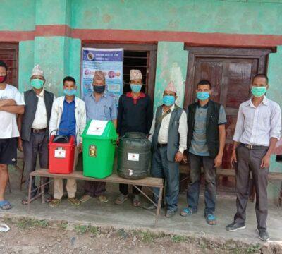 नेपाल रेर्ड्क्रस सोसाइटी उपशाखा आठबिसकोटले तीन वटा क्वारेन्टिन व्यवस्थापनको लागि सामाग्री वितहरण ।